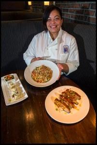 Chef Cooper serving (L to R) Summer Bruschetta, Pasta Primavera, and Chipotle Glazed Saint Louis Ribs. Photo © Chester Simpson