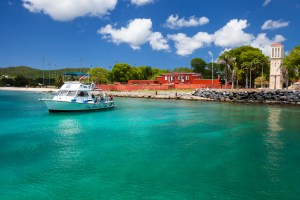 """Cane Bay Dive Boat """"Ibis"""".In front of Fort Frederick. Fredericksted, St. Croix.U.S. Virgin Islands"""