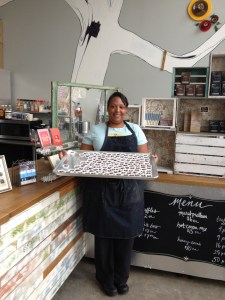 Michelle with a tray of Salted Caramels - a Fleurir favorite.