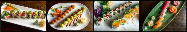 (L to R) Lucky Roll, KAiZEN Roll, Jo Hamachi Roll and KAiZEN Sashimi Platter.