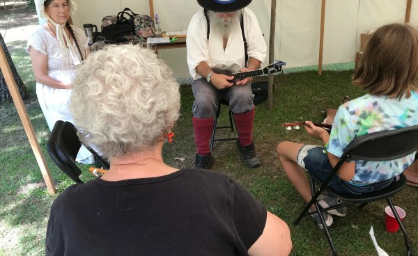 Musicians Curtiss and Loretta, in addition to performing, taught Chautauqua classes at the2019 Old Wadena Rendezvous