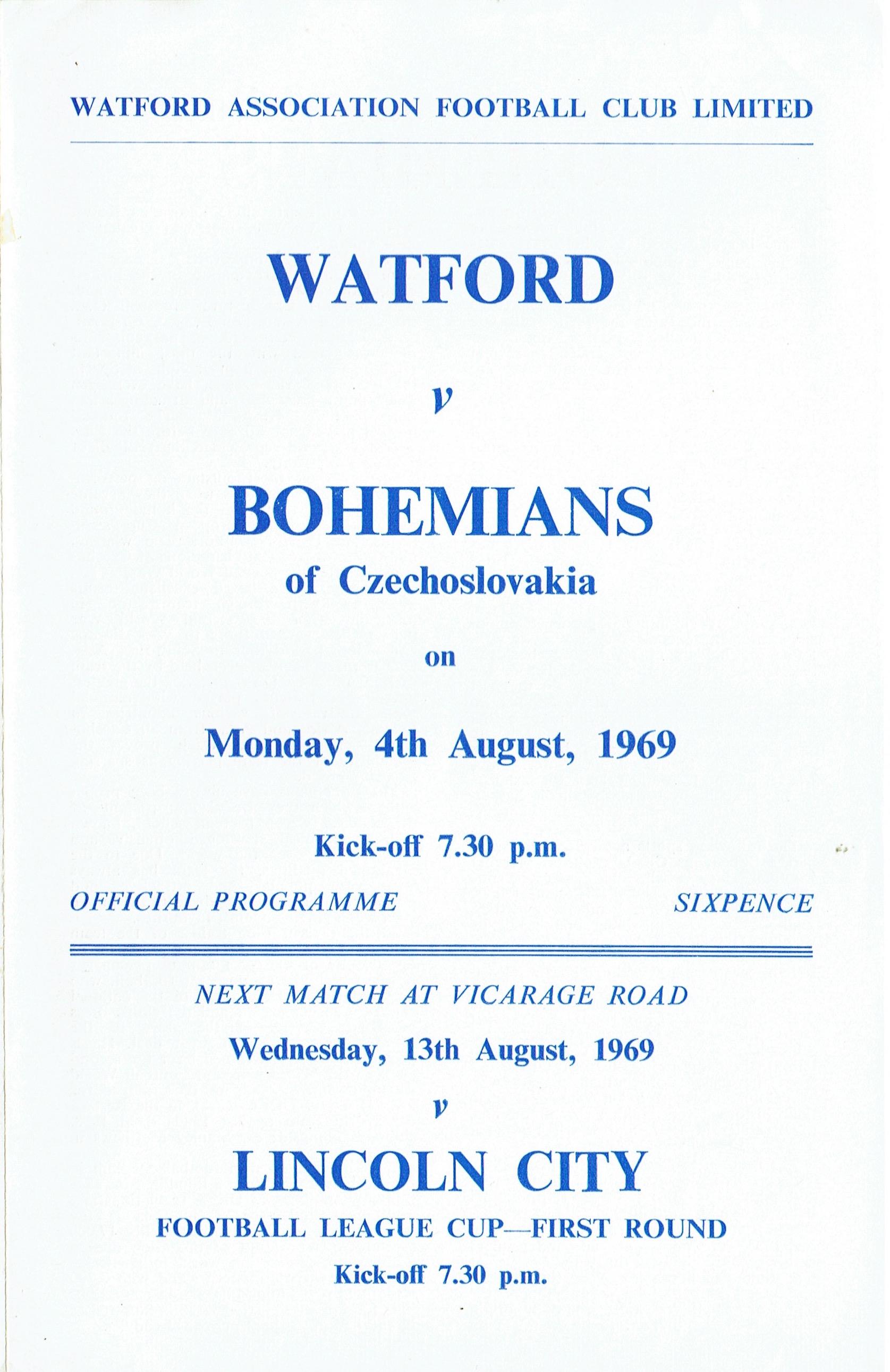 4th August 1969-Friendly, Watford 5 Bohemians Prague (Czechoslovakia