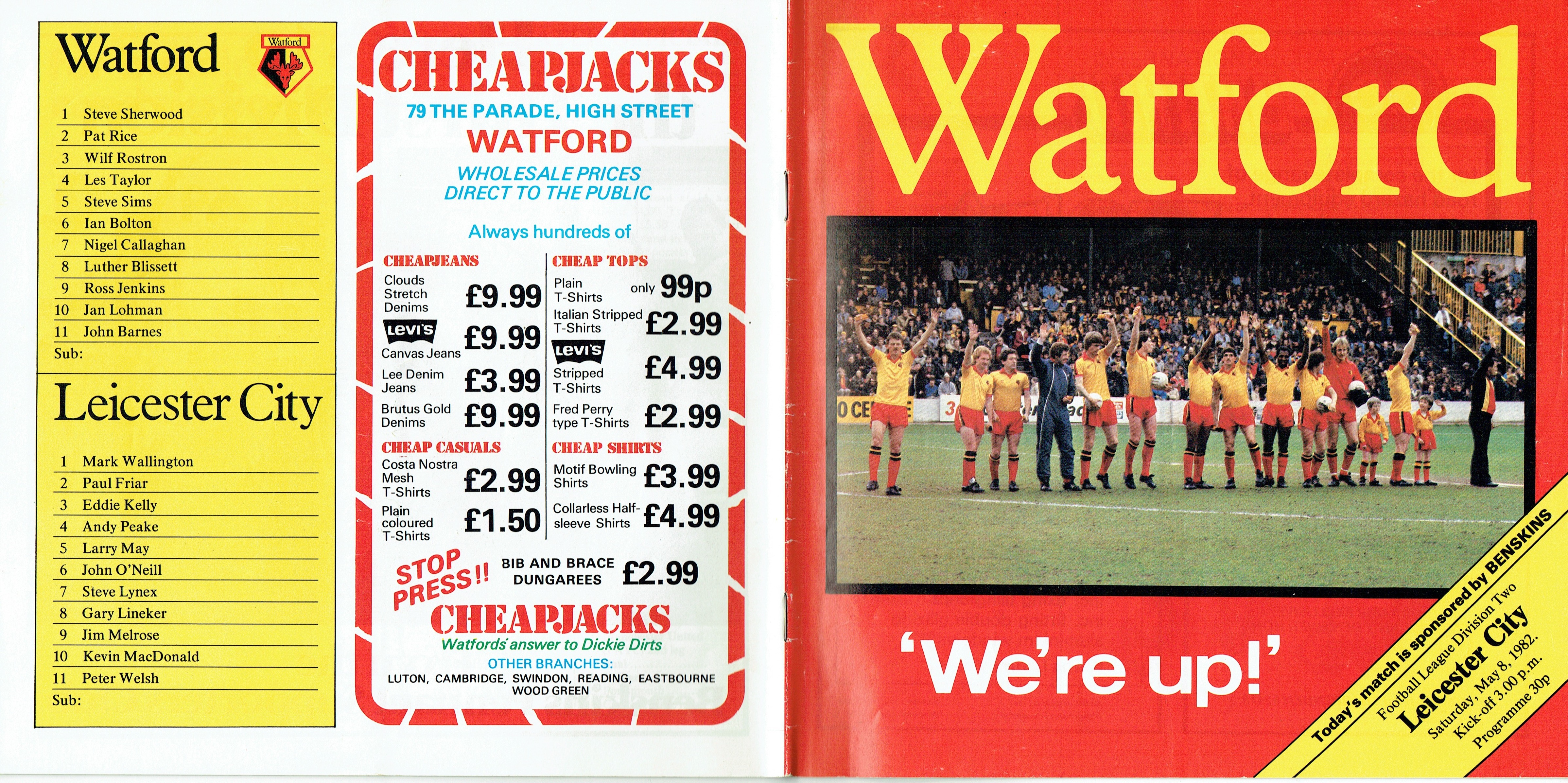 8Th May 1982 Division Two, Watford 3 Leicester City 1