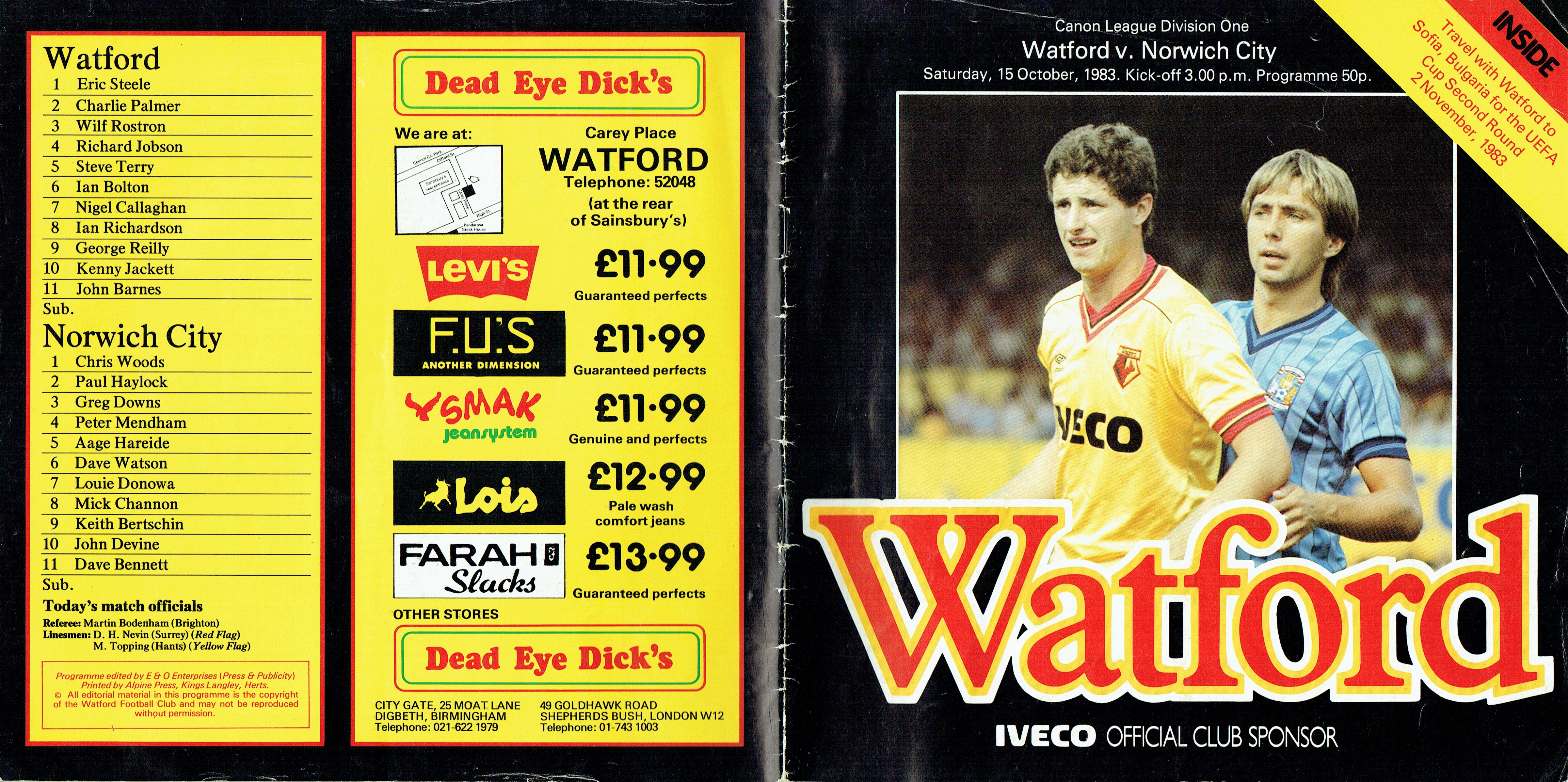 15th October 1983- Division One, Watford 1 Norwich City 3 – Old Watford
