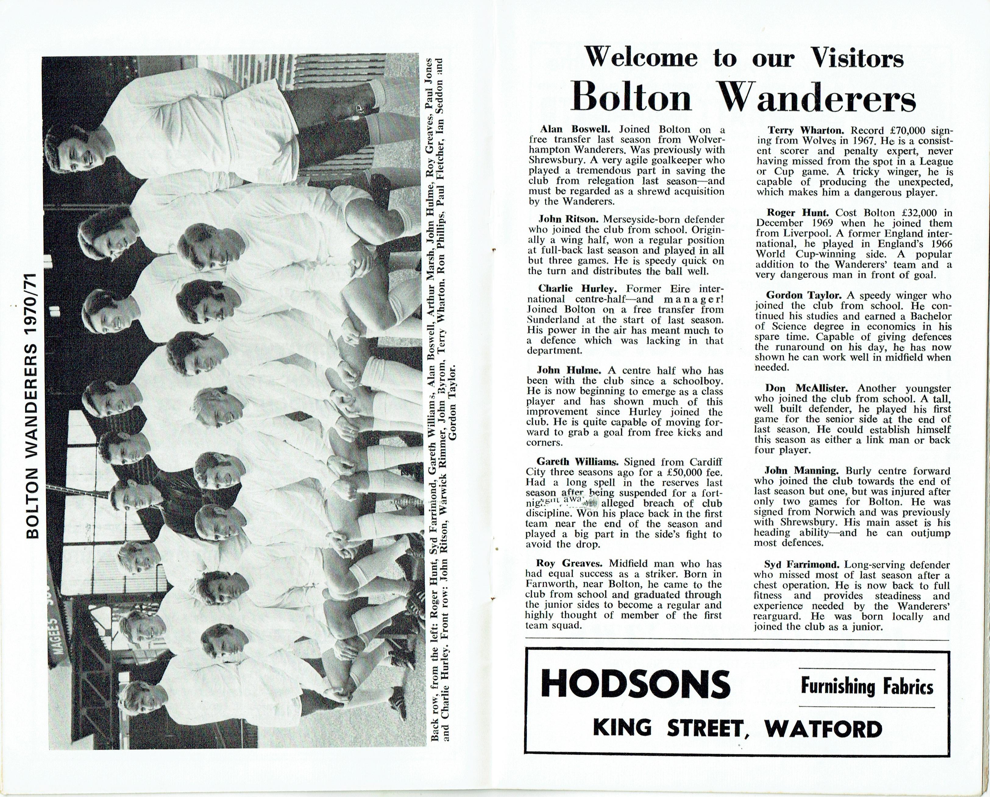 28th November 1970- Division Two, Watford 1 Bolton Wanderers