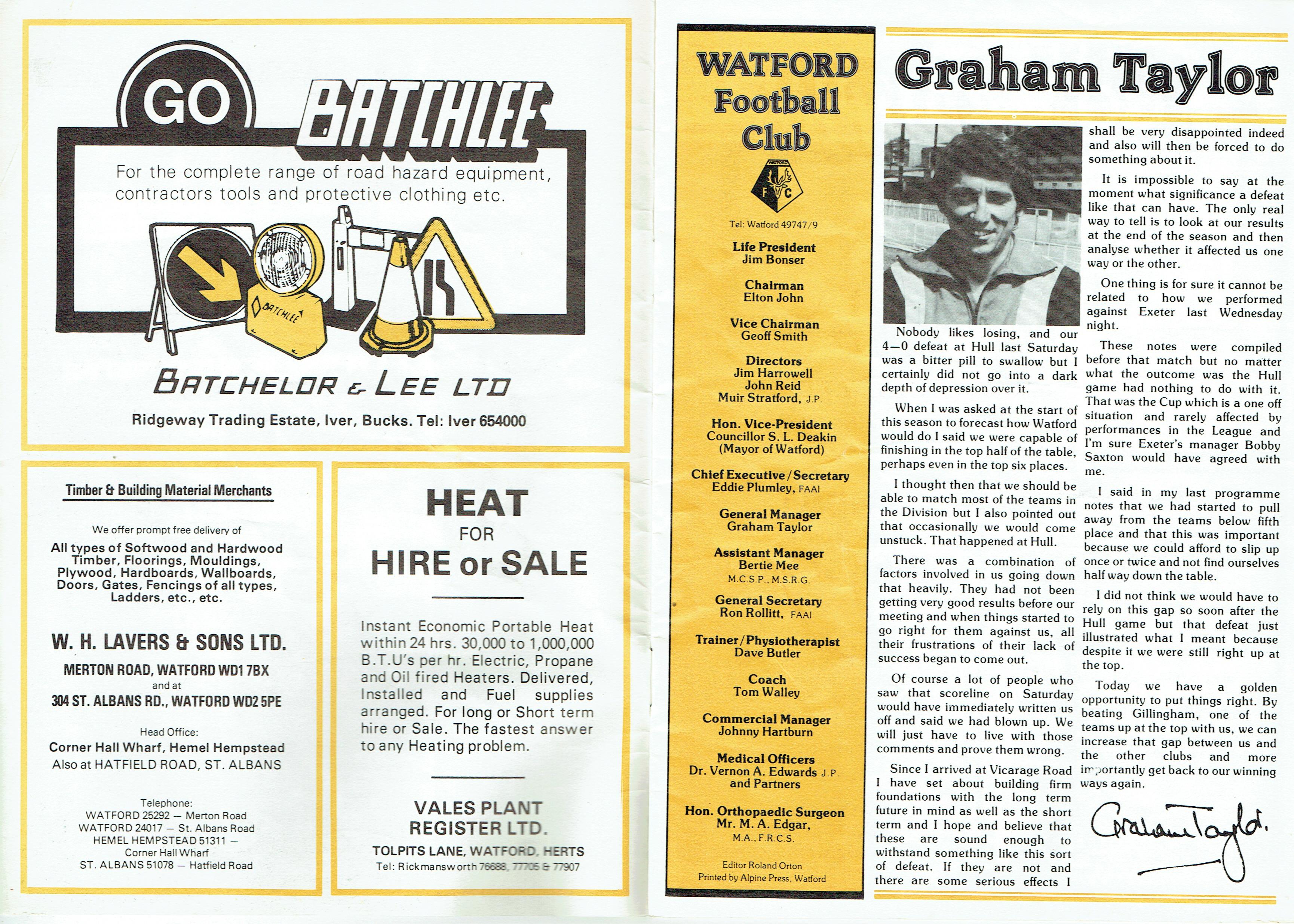 11th November 1978- Division Three, Watford 1 Gillingham 0 – Old Watford