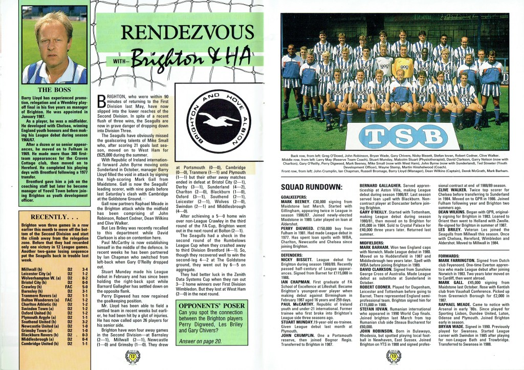 31st March 1992- Division Two, Watford 0 Brighton & Hove Albion 1