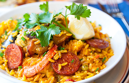 Paella with Chicken, Chorizo and Shrimp | Oldways