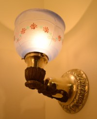 Bright Brass Sconce lit