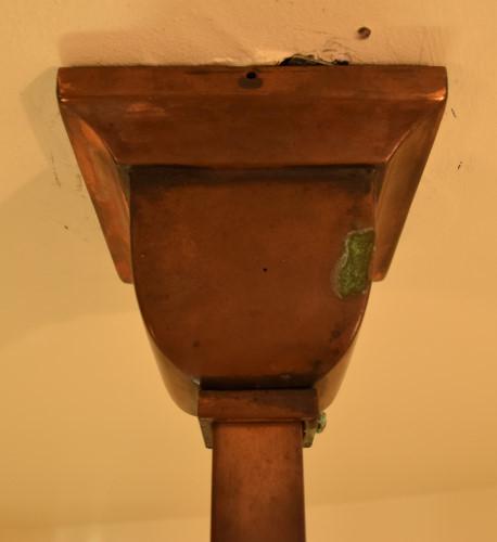 Craftsman style chandelier, 22 inch ceiling cap closeup