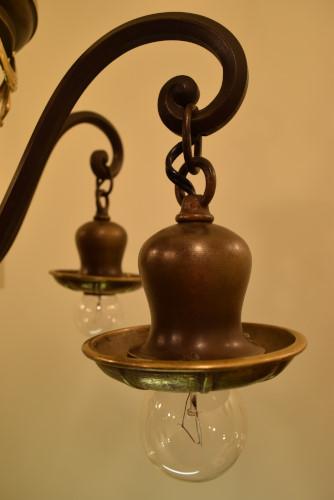 Brass Swag Chandelier, hooded socket close up