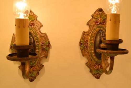 Palmetto Sconces, lit, close-in look