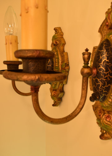 Palmetto Sconces, candle-cup view