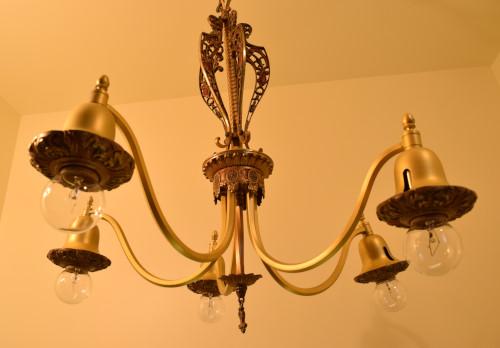 Fuchsia chandelier, looking up