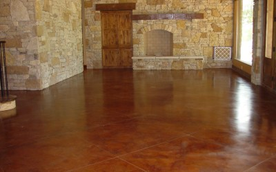 Stained Floors with Stone Fireplace