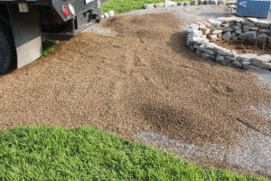Next, we laid in a load of pea gravel for the walkway area