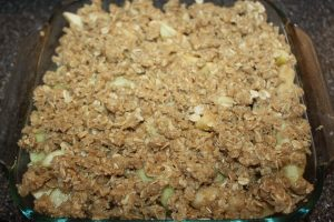 Apple Crisp ready to go into the oven!