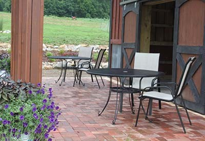 One Of Our First Diy Paver Patio Projects, Our Barn Patio. This Was Made  From Reclaimed Bricks.
