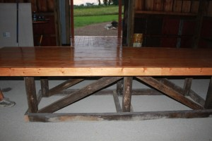 Barn Trestle Table with base from barn rafters