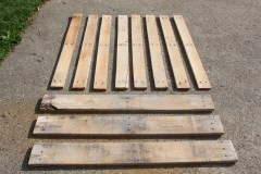 Once you have disassembled the pallet - you will end up with nice slats to cover your compost bin with