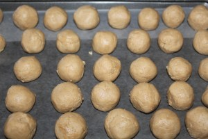 Roll the dough into balls - chill before dipping into the chocolate
