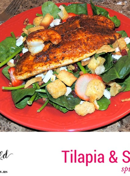 Easy Cajun Tilapia and Shrimp Spinach Salad
