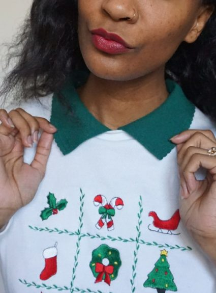 Thrifted Christmas Attire – Quirky Christmas Sweater