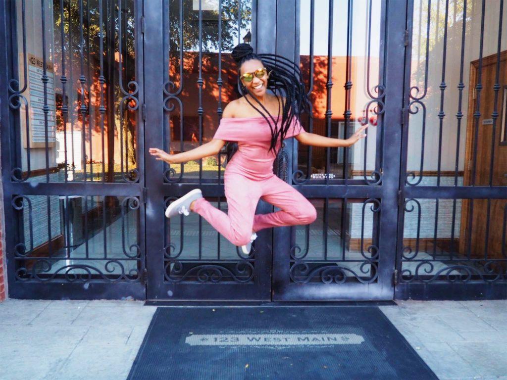 thrift store finds - fashion nova pink off shoulder jump suit
