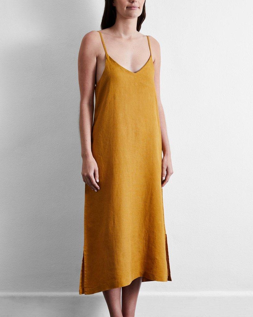 bed threads sustainable sleepwear - night gown - flax linen midi dress - mustard yellow