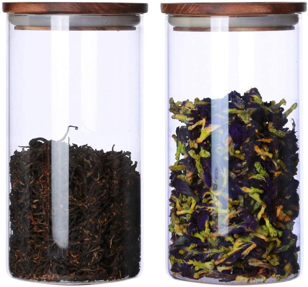 Glass & Wood airtight tea Canisters