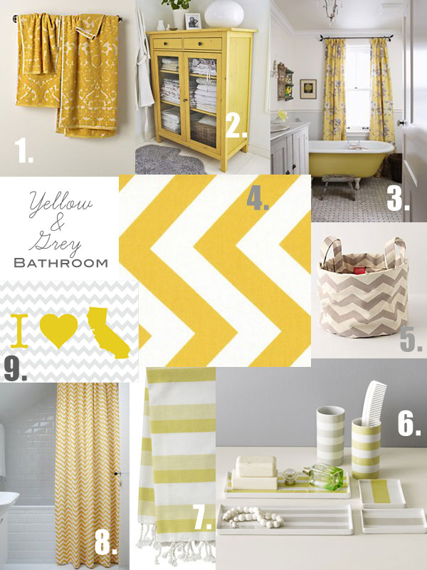 Grey And Yellow Bathroom Inspiration Oleander Palm