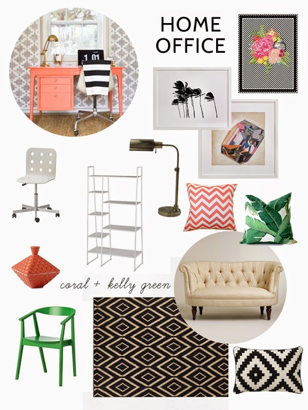 Coral And Kelly Green Home Office Inspiration Oleander Palm