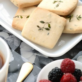 Lemon Thyme Shortbread and Garden Rose Trays