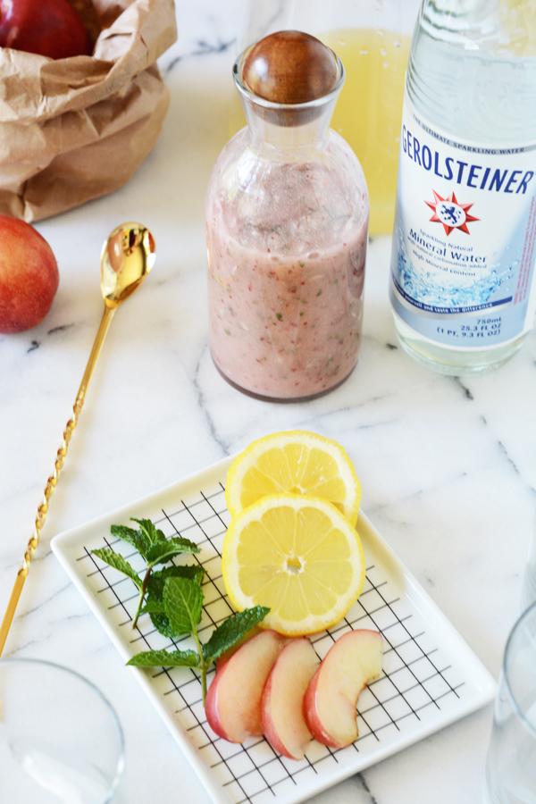 sparkling nectarine mint lemonade