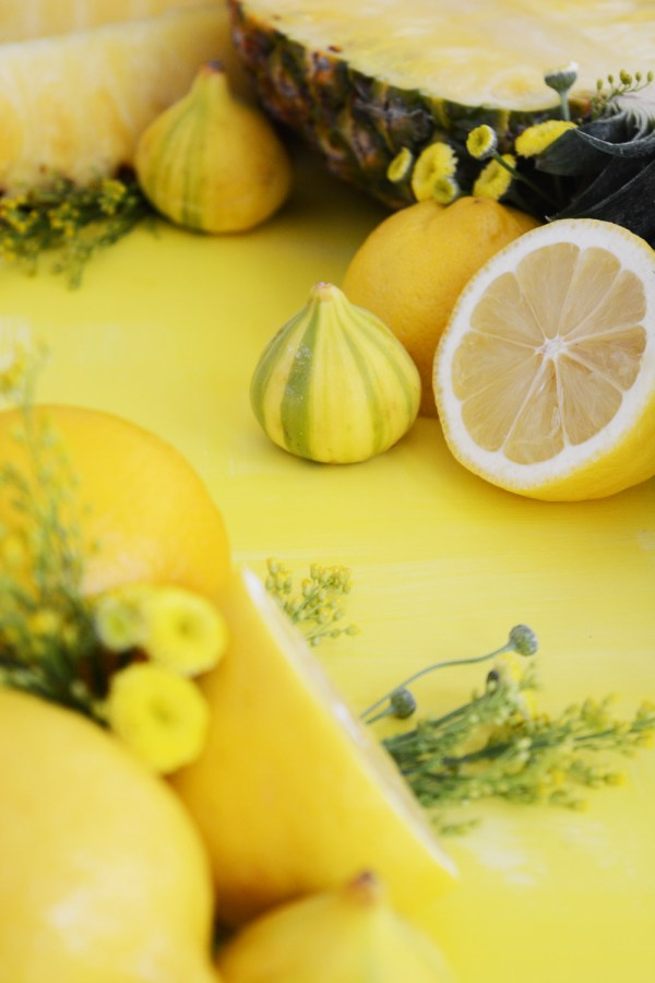 Fresh fruit art, yellow