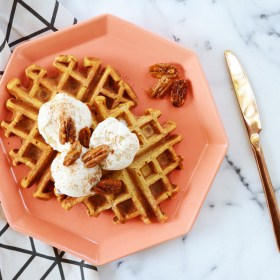Pumpkin Spice Waffles with Homemade Cinnamon Ice Cream