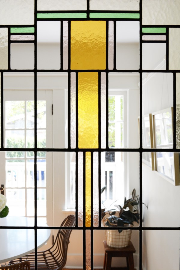 Stained glass door in 1918 Craftsman home.