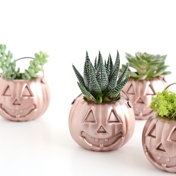 Rose Gold Mini Pumpkin Planter