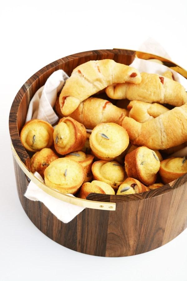Cranberry Sage Mini Corn Muffins and Pumpkin Spice Dinner Rolls