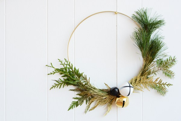 DIY Modern Gold Winter Greenery