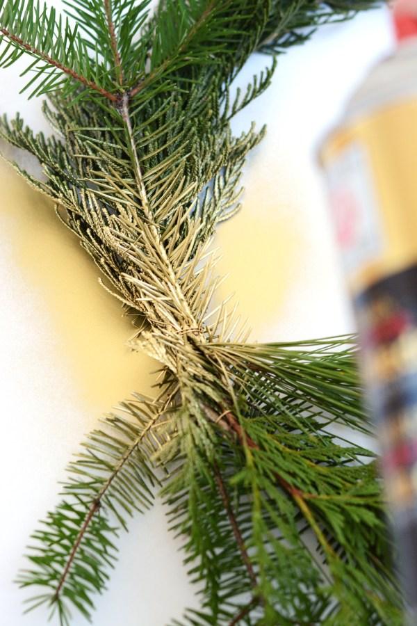 DIY Gold Winter Greenery Wreath