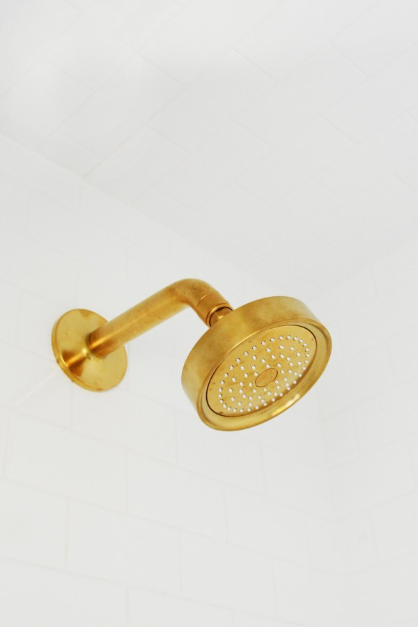 Brushed Brass Shower Head and Fixtures