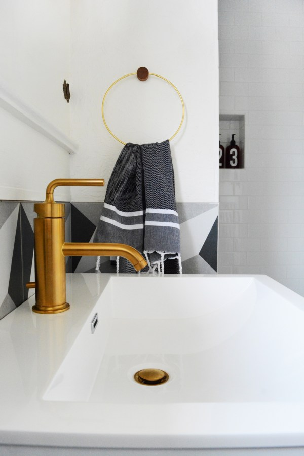 Guesthouse Bathroom Reveal - modern patterns and vintage touches create a bold bathroom.