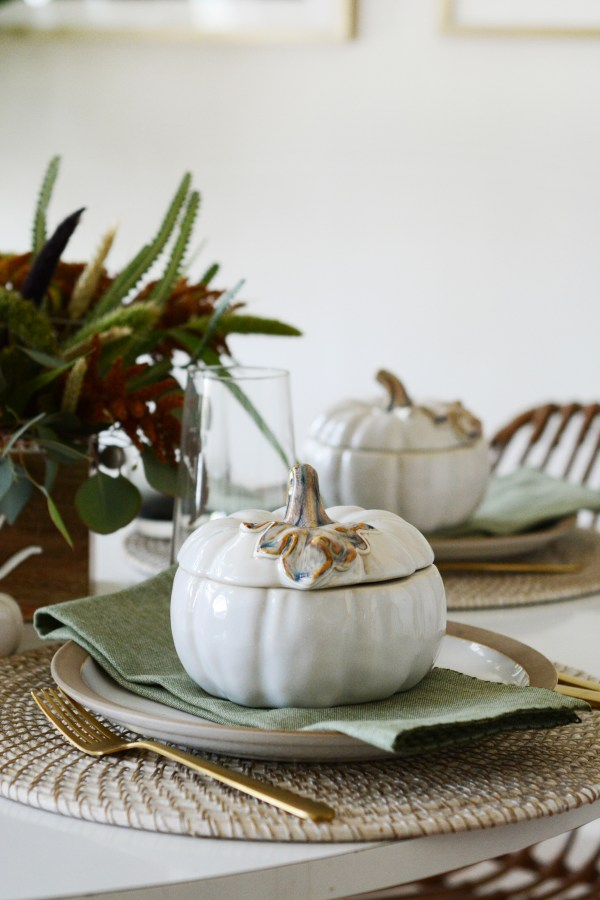 Host a relaxed Friendsgiving luncheon with Roasted Butternut Squash Turkey Wild Rice Soup + Pumpkin Spice Cornbread Muffins.