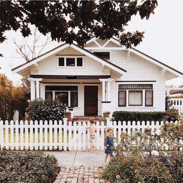 White Craftsman House with Black Trim