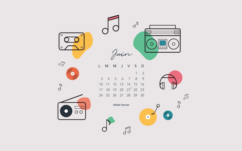 Calendrier & fonds d'écran – Juin 2019