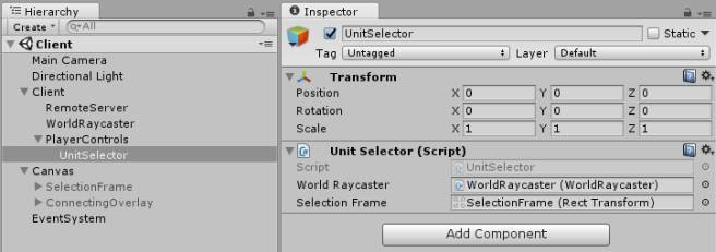 Example of dependency injection in Unity without frameworks