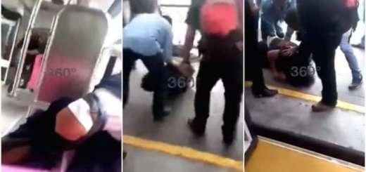 Asaltante se mete a robar al Metrobús y usuarios le dan golpiza
