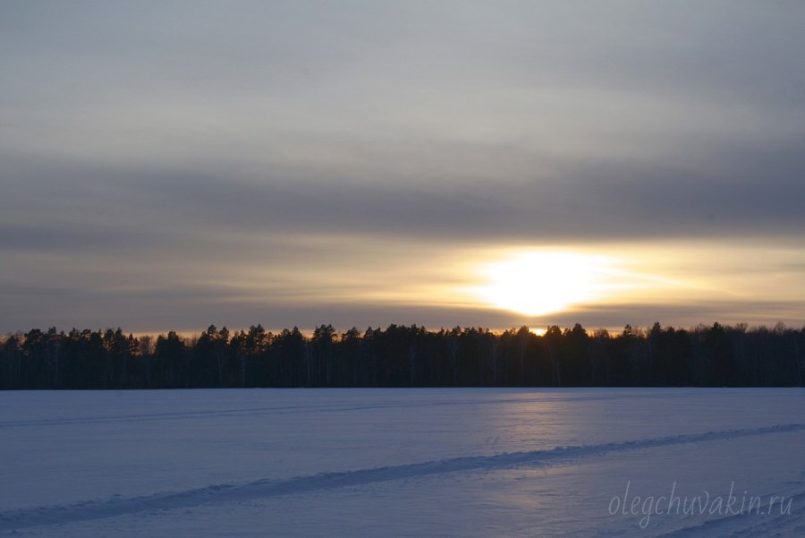 Зимний закат, закат солнца зимой