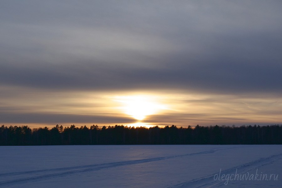 Закат солнца, зима, снег